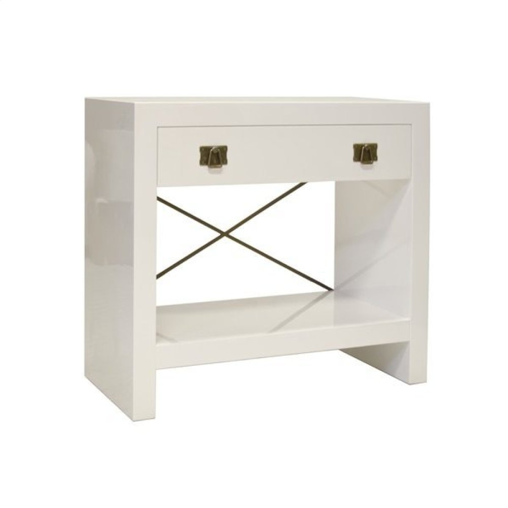 White Lacquer One Drawer Side Table With Antique Brass Hardware and Decorative Antique Brass Crossbar In Back. Drawer On Soft Close Glide.