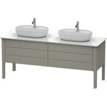 Vanity Unit For Console Floorstanding, Stone Gray Satin Matt Lacquer