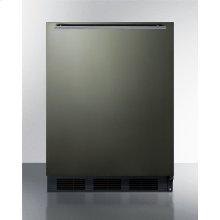 ADA Compliant Built-in Undercounter All-refrigerator for Residential Use, Auto Defrost With Black Stainless Steel Wrapped Door, Horizontal Handle, and Black Cabinet