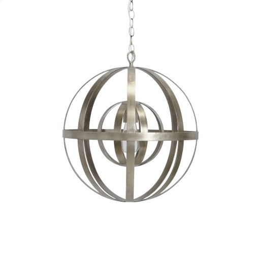 Iron Sphere Silver Leaf Chandelier Ul Approved for One 60 Watt Bulb 3' Matching Chain Included. Additional Chain May Be Purchased Upon Request.