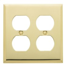 Polished Brass Beveled Edge Double Duplex