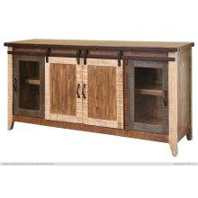 "70"" TV Stand w/2 Glass doors w/1 middle shelf, 2 Sliding doors, w/2 shelves"