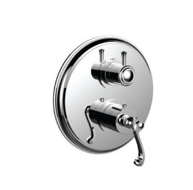 """1/2"""" Thermostatic Trim With Volume Control and 3-way Diverter in Unlacquered Brass"""