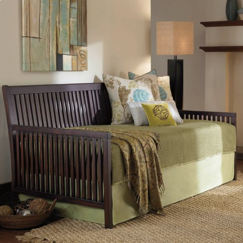 Mission Complete Wood Daybed with Euro Top Spring Support Frame and Pop-Up Trundle Bed, Espresso Finish, Twin