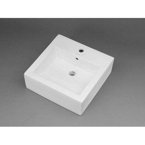 Square Ceramic Vessel Bathroom Sink in White
