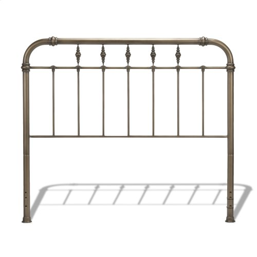 Vienna Complete Bed with Metal Panels and Carved Finials, Aged Gold Finish, Queen