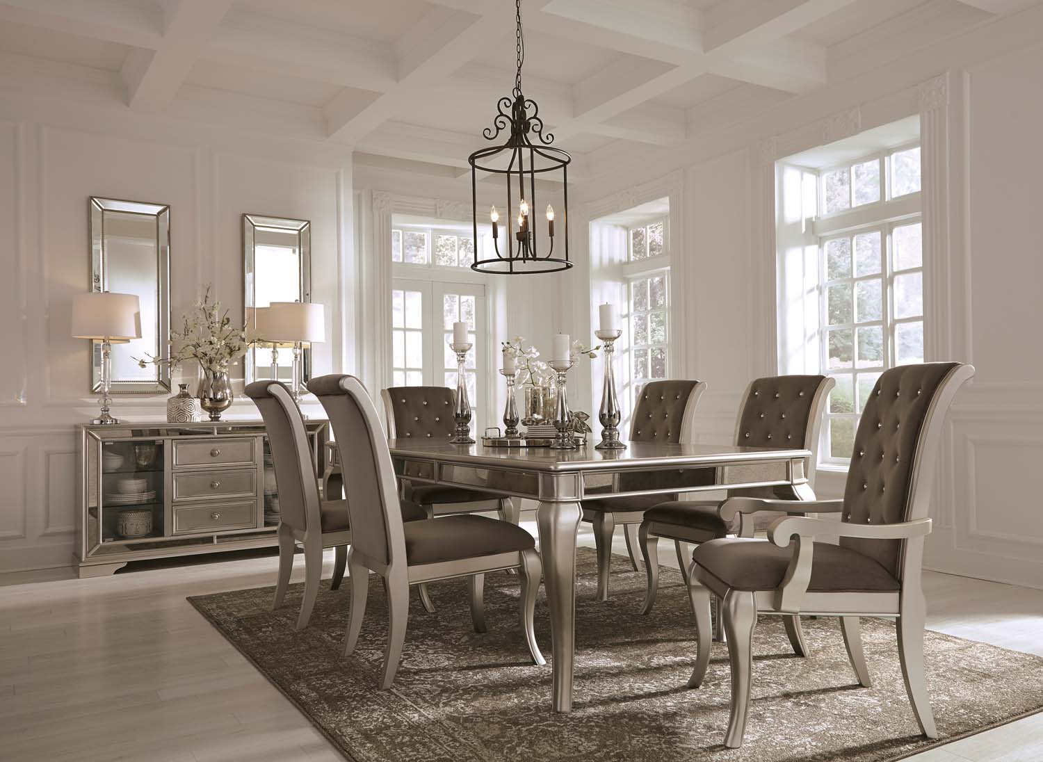 Birlanny   Silver Set Of 2 Dining Room Chairs