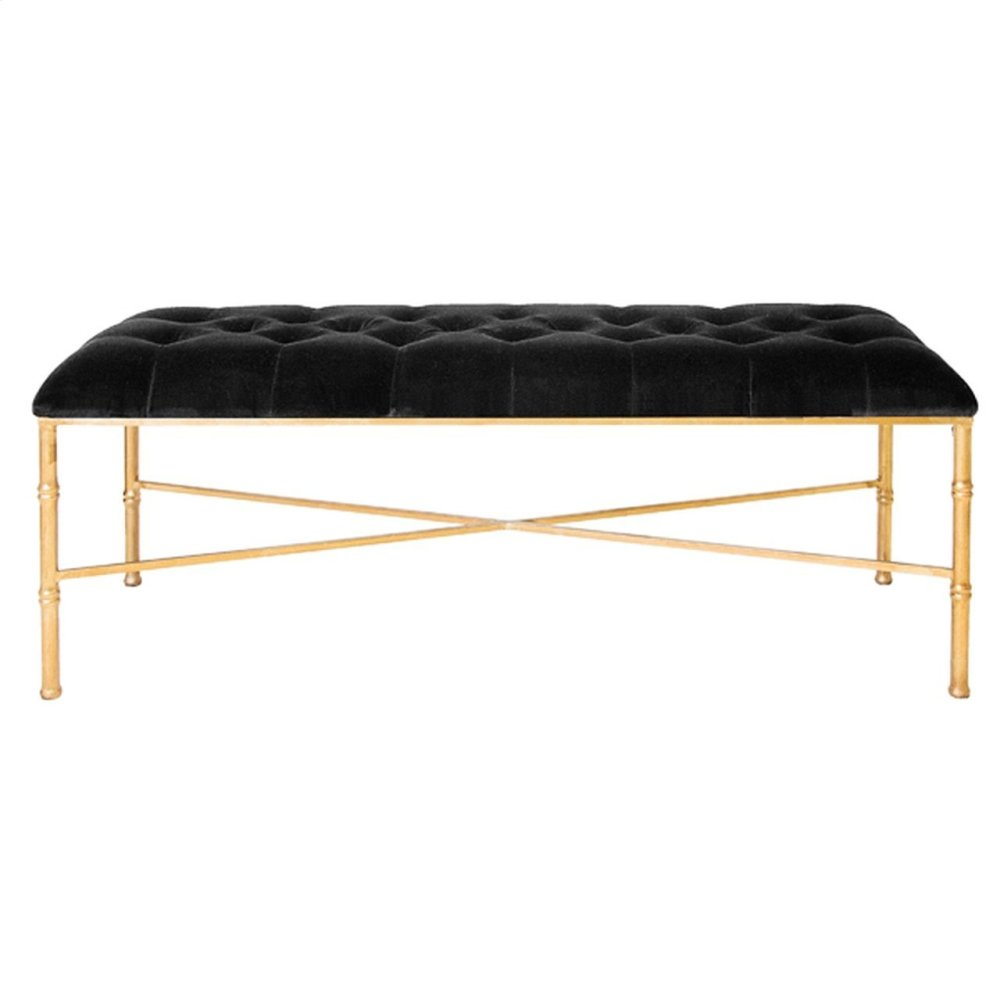 Gold Leafed Bamboo Bench With Black Velvet Tufted Upholstery