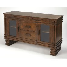 Storage space can instantly update your lifestyle and this sideboard is the perfect piece to accomplish that task. Crafted of Acacia wood and Birch veneers, it is finished in a rich brown with unique linear cutwork details. The 2 drawers are perfect for a