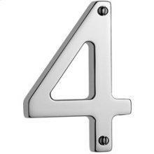 """Antique Brass Unlacquered Door numeral """"4"""""""