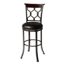 Tallahassee Metal Barstool with Black Upholstered Swivel-Seat and Heritage Silver Frame Finish, 30-Inch
