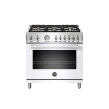 36 inch All Gas Range, 6 Brass Burners Bianco