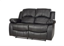 Kaden Black Bonded Leather Reclining Loveseat