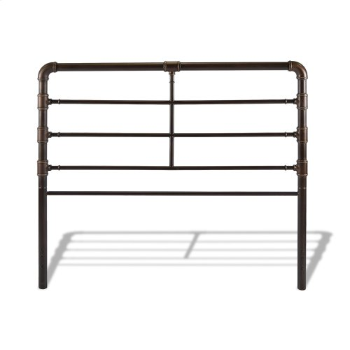 Everett Metal Headboard Panel with Industrial Pipe Design, Brushed Copper Finish, California King