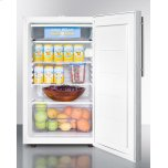 """Summit Commercially Listed ADA Compliant 20"""" Wide Freestanding Refrigerator-freezer With A Lock, Stainless Steel Door, Thin Handle and White Cabinet"""