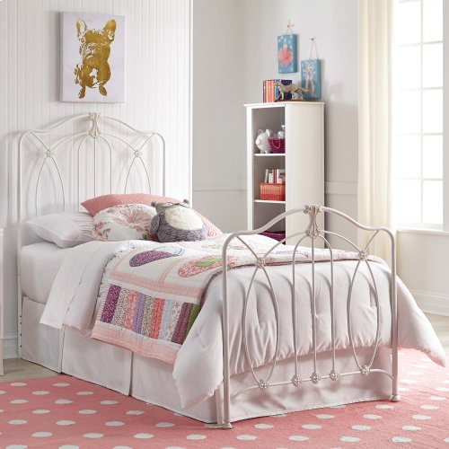 Kaylin Complete Kids Bed with Metal Duo Panels and Medallions Accents, Soft White Finish, Full