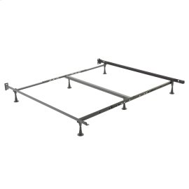 Restmore Adjustable PLK45G Posi-lock Bed Frame with Fixed Headboard Brackets and (6) Leg Glide Legs, Powder Coat Finish, Queen - King