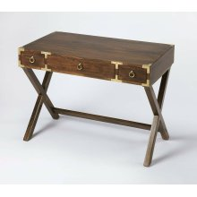 This timeless Campaign writing desk is an inspired addition in both traditional and contemporary spaces. Crafted from mango wood solids and wood products, it features a rich walnut finish accentuated with brass pull rings on each of three drawers and bras