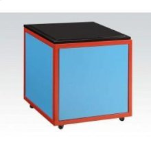 Blue/bk Train Ottoman W/strg