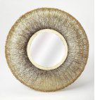 Complement a modern design with this gorgeous, Round Gold Wire Frame Mirror. The trendy round shape and uniquewire wrapped style banding are the perfect addition to any empty wall space. This mirror's durable construction and intricate design are sure t Product Image