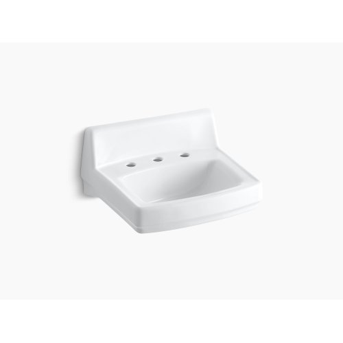 """White 20-3/4"""" X 18-1/4"""" Wall-mount/concealed Arm Carrier Bathroom Sink With Widespread Faucet Holes and No Overflow"""