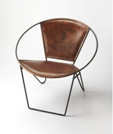 This verstile chair with its graceful curves, butterfly hind legs and the hand crafted artistry of forged wrought iron, combines with the rugged natural beauty of top stitched leather seat and back. This modern chair is perfect in any modern or transition