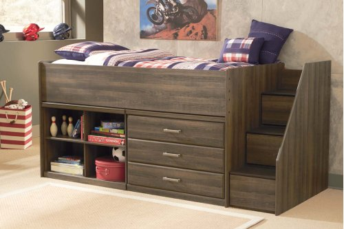 Twin Loft Bed w/ Bookcase And Storage Drawers
