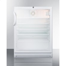 """Commercially Listed ADA Compliant 5.5 CU.FT. Freestanding Beverage Center In A 24"""" Footprint, With White Cabinet, Glass Door, and Lock"""