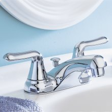 Colony Soft 2-Handle 4 Inch Centerset Bathroom Faucet Non-Metallic Pop Up Drain - Polished Chrome