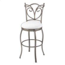 Raleigh Metal Barstool with Wheat Upholstered Swivel-Seat and Brushed Bronze Frame Finish, 30-Inch