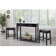 Traditional Black Three-piece Dining Set Product Image