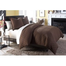 3 pc Queen Coverlet/Duvet Set Cocoa