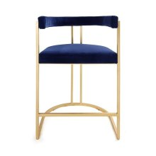 Barrel Back Gold Leaf Base Counter Stool In Navy Velvet