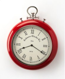 This wall clock is crafted in a red round shaped frame that features Roman numerals over a white face, and a sturdy handle. The clock can be placed on any wall and blends with a variety of decor. Makes a great gift.