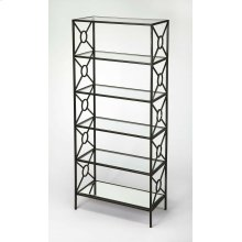 A great addition to the living room, den or home office. This etagere is crafted from Iron and MDF. The tempered glass shelves and beveled mirrored glass bottom shelf is held together by X-shaped metal bars with an open circle in the middle. The subtle g