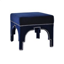 Nickel Nailhead Trim Stool In Navy Velvet
