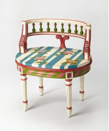 This immaculate vanity seat adds whimsy to any powder or dressing room. Hand crafted from poplar hardwood solids and wood products, it features a carved solid wood back and legs in a boldly colored Alice In Wonderland finish.