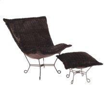 Scroll Puff Chair Mink Brown Titanium Frame