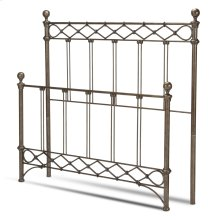 Argyle Metal Headboard and Footboard Bed Panels with Diamond Pattern Top Rail and Double Spindle Castings, Copper Chrome Finish, California King