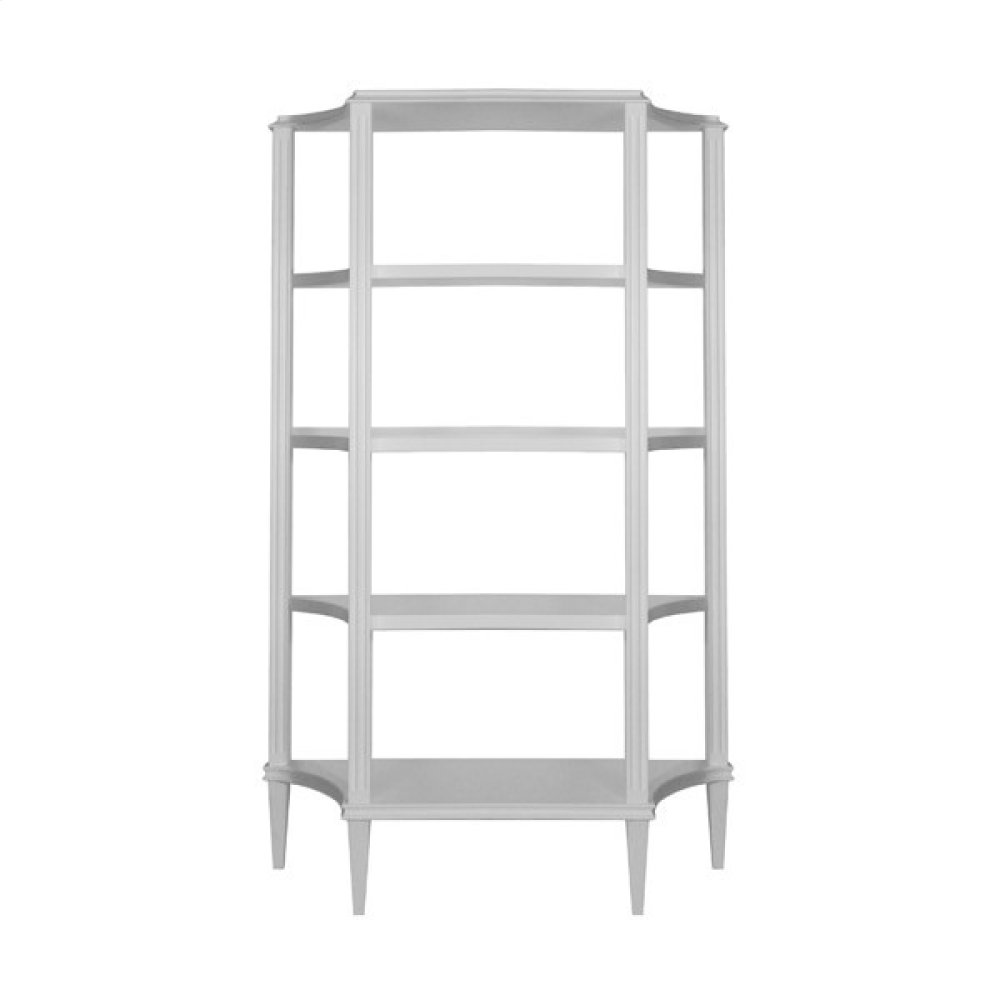 Four Tier Etagere In Matte White Lacquer