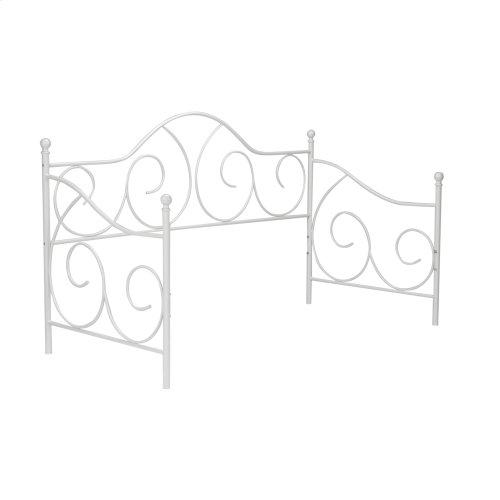 Caroline Complete Metal Daybed with Link Spring Support Frame and Pop-Up Trundle Bed, Antique White Finish, Twin