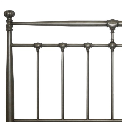 Kensington Metal Headboard & Footboard with Stately Posts and Detailed Castings, Vintage Silver Finish, California King