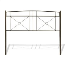 Russett Metal Headboard Panels with Modest Sloping Top Rail, Liquid Bronze Finish, Queen