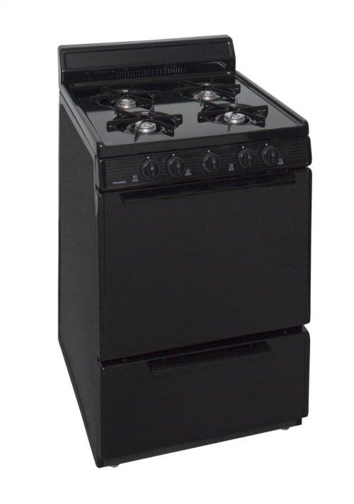 24 in. Freestanding Gas Range in Black