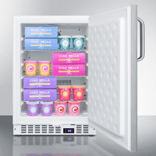 Frost-free Built-in Undercounter All-freezer for Residential or Commercial Use, With Stainless Steel Wrapped Exterior and Towel Bar Handle