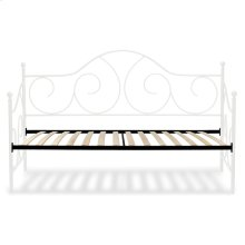 Caroline Complete Metal Daybed with Euro Top Spring Support Frame and Gently Sloping Back and Side Panels, Antique White Finish, Twin