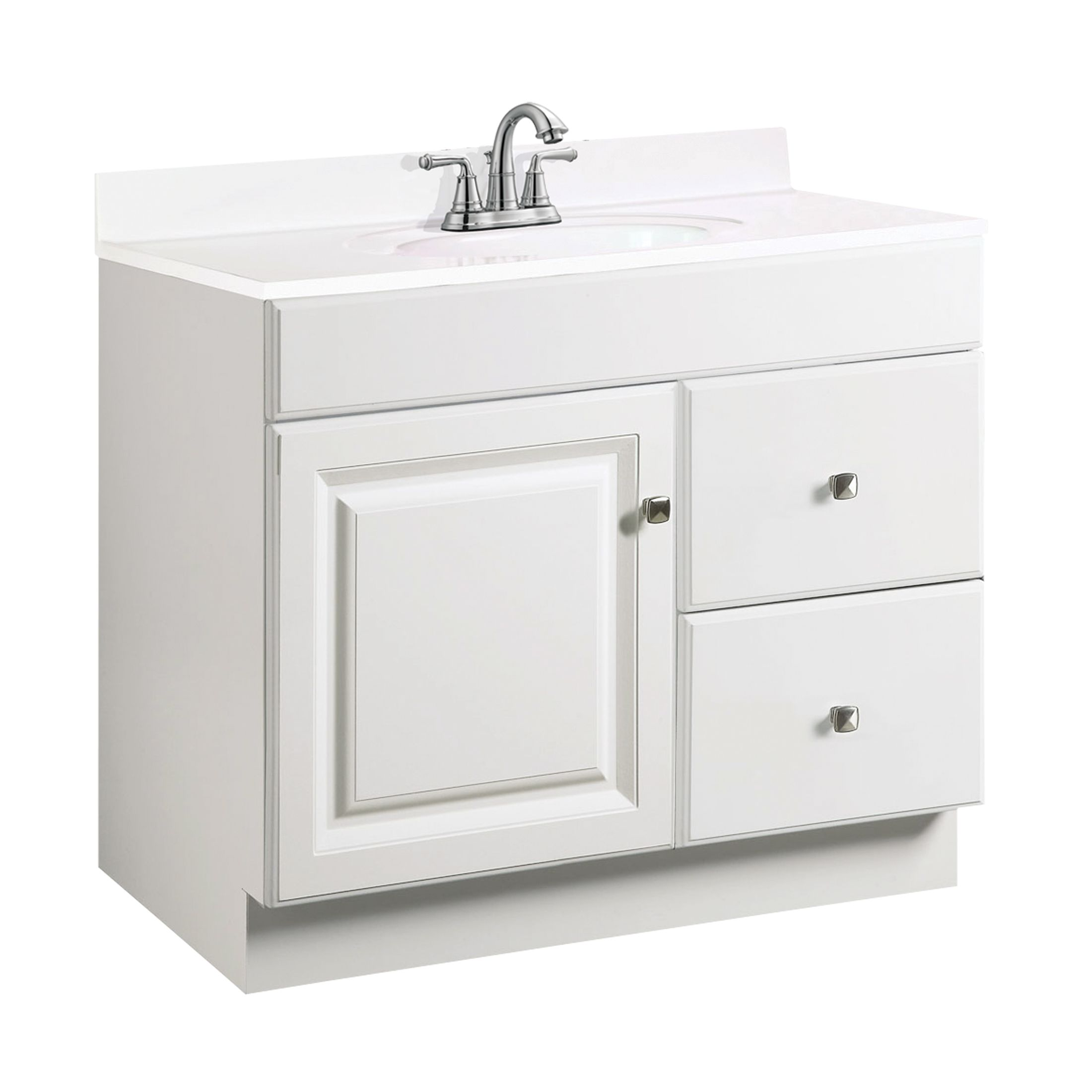 "Wyndham 1-Door 2-Drawer Vanity 36"", White #531954"