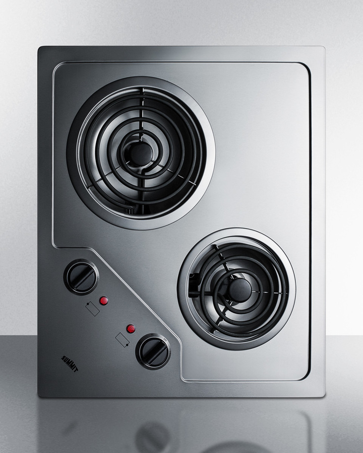 Summit2-Burner 120v Electric Cooktop Designed For Portrait Or Landscape Installation, With Coil Elements And Stainless Steel Finish