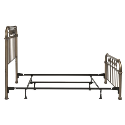 Vienna Complete Metal Bed and Steel Support Frame with Spindles and Intricately Carved Finials, Aged Gold Finish, California King
