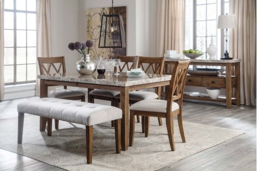 6 Piece Dining Room Set - Table, 4 Upholstered Chairs & Bench